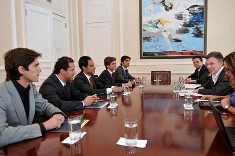 El presidente Santos en una recepción con representantes de los toreros. | Efe
