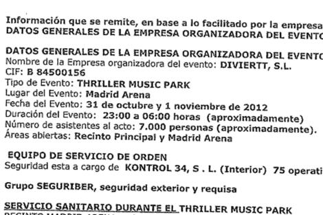 Documento de Diviertt S.L al Ayuntamiento sobre el número de asistentes al evento de Halloween.