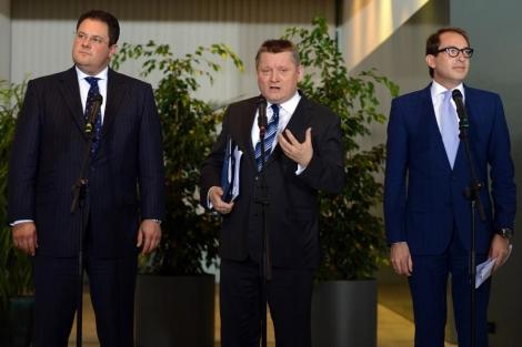Rueda de prensa de los socios de coalición de Merkel en Berlín. | Afp