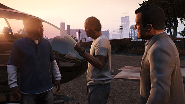 Franklin, Trevor y Michael, los tres personajes 'jugables' de GTA V.