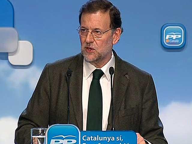 Mariano Rajoy, durante su discurso en Tarragona. | Foto: EL MUNDO.