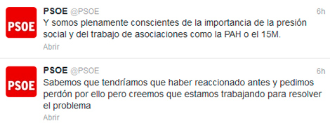 Dos de los tuits enviados desde la cuenta oficial del PSOE.