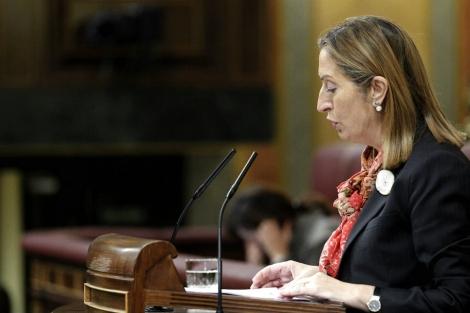 La ministra de Fomento, Ana Pastor, durante su intervención en el Congreso. | Efe