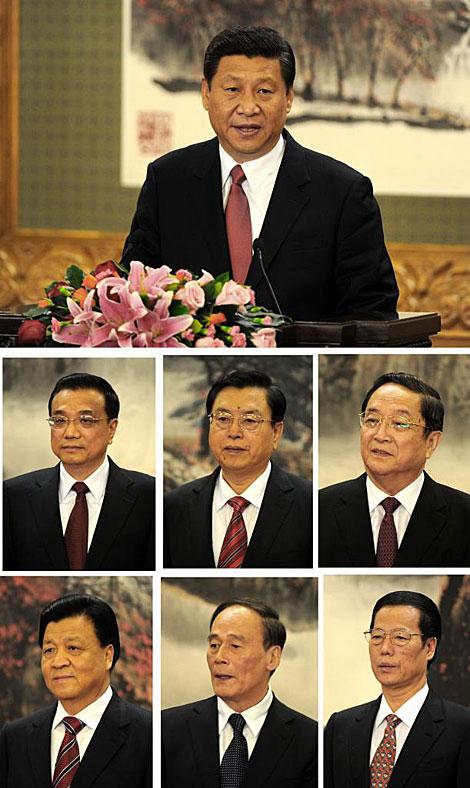 Los nuevos líderes chinos: Xi Jinping (arriba); Li Keqiang, Zhang Dejiang, Yu Zhengsheng (medio); Liu Yunshan, Wang Qishan, Zhan Gaoli (abajo). | Reuters