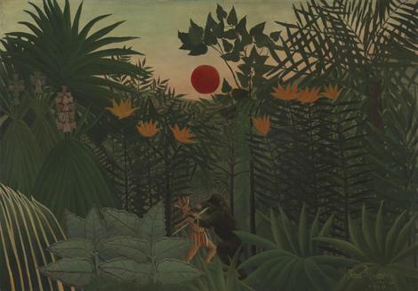 'Paisaje tropical con un gorila atacando a un indio' (1910), de Rousseau.