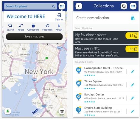 Capturas de pantalla de la aplicación de Nokia Here para iPhone.