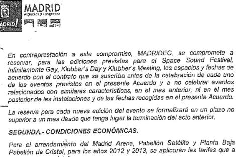 Imagen del contrato entre Madridec y Diviertt que ha provocado la destitución. | E.M.
