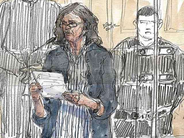 Recreación de la declaración de 'Anboto' durante el juicio en París.   Benoit Peyrucq / Afp