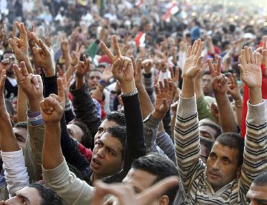 La sentada en la Plaza Tahrir, ayer, en El Cairo.  Efe