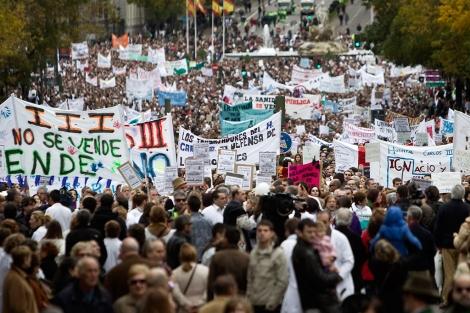 Manifestación de profesionales de la Sanidad, en Madrid, contra la privatización.   Alberto di Lolli