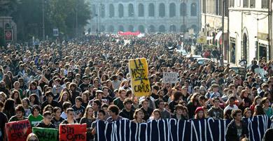 Imagen de la manifestación en Roma.   Afp