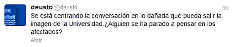 Twitter de la Universidad de Deusto.