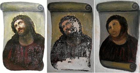 Imágenes del Ecce Homo original, tras el paso del tiempo, y después de su restauración. | E. M.