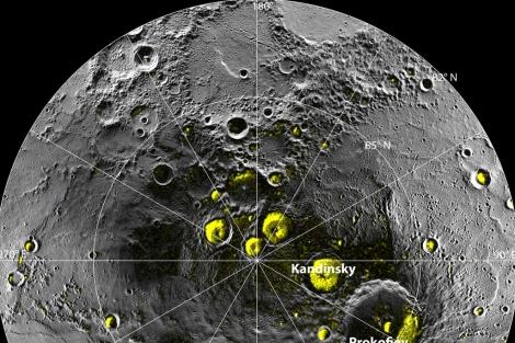 Cráteres de Mercurio donde se ha detectado agua helada. | NASA
