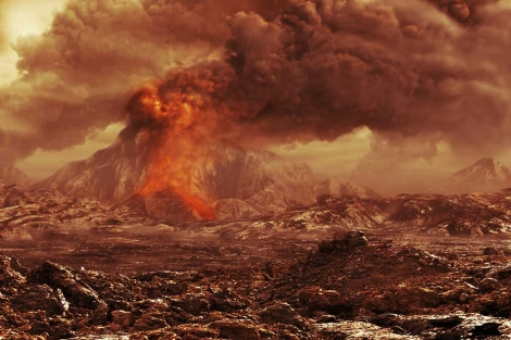 Recreación artística de un volcán en erupción en Venus.   ESA/AOES