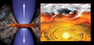 Recreación de la protoestrella y el disco de gas que la rodea.| B. Saxton/NRAO