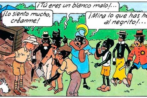 Una de las viñetas de 'Tintín en el Congo'.   El Mundo