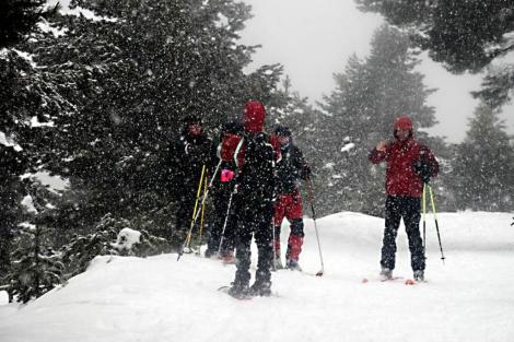 Unos senderistas en el Parque Regional de Peñalara soportan una intensa nevada.|Marga Estebaranz
