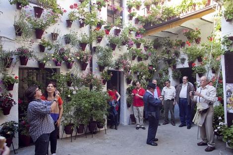 Turistas de visita en un típico patio de la ciudad de Córdoba. | Madero Cubero