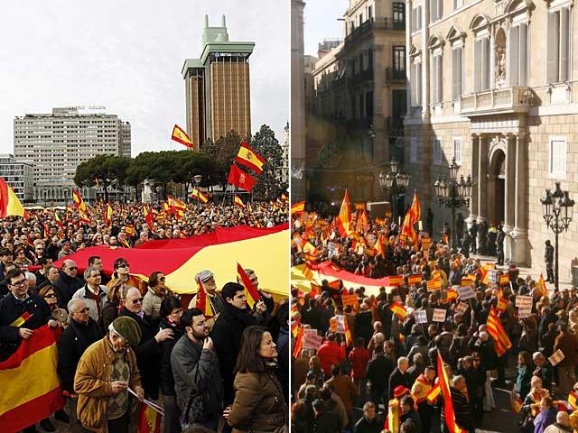 Concentraciones en Madrid (izda.) y Barcelona. | Efe / Jordi Soteras.