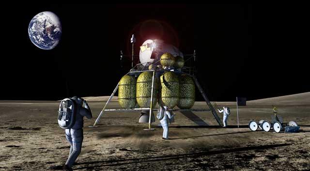 Recreación artística de una futura misión lunar. | NASA