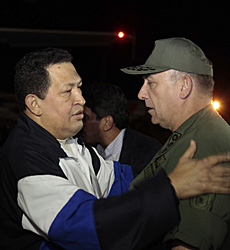 Chávez, al llegar a Caracas.| Afp