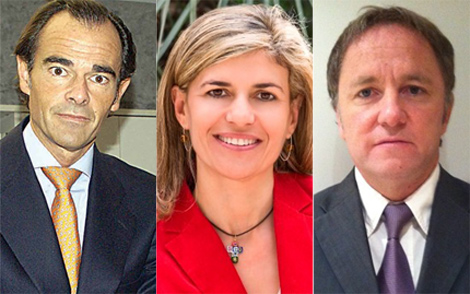 De izquierda a derecha: Manuel Llombart, nuevo conseller de Sanidad; Asunción Sánchez, consellera de Bienestar Social; y Juan Carlos Moragues, conseller de Hacienda.   GVA