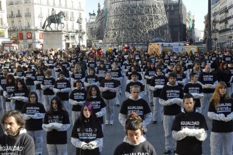 Activistas sostienen animales muertos.   Foto: Kote Rodrigo / Efe