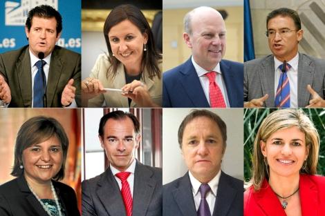De izquierda a derecha y de arriba abajo: José Císcar, María José Català, Máximo Buch, Serafín Castellano, Isabel Bonig, Manuel Llombart, Juan Carlos Moragues, Asunción Sánchez.