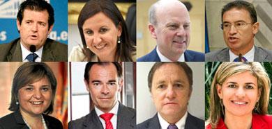 Los ocho consellers del nuevo gobierno de Alberto Fabra.