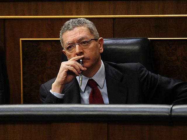 El ministro de Justicia, Alberto Ruiz-Gallardón, en el Congreso. | Bernardo Díaz