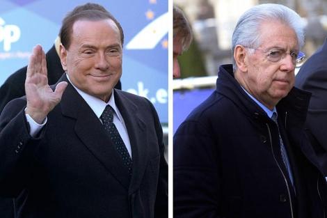 Berlusconi y Monti, a su llegada a la reunión del PPE.| Reuters