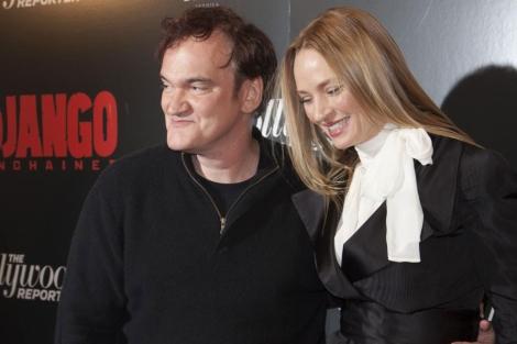 Tarantino junto a Uma Thurman en el estreno de 'Django'.| Reuters