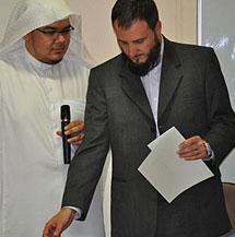 Con el imán de la mezquita de la M30 de Madrid.