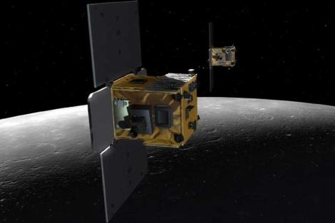 Recreación artística de las sondas Ebb y Flow en la Luna. | NASA
