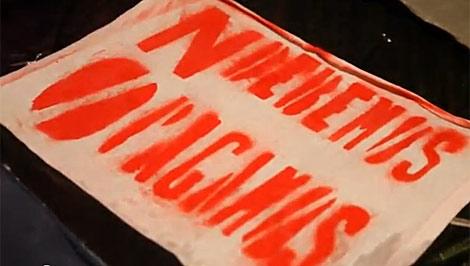 Una pancarta con el lema de la Plataforma por la auditoría de la deuda.