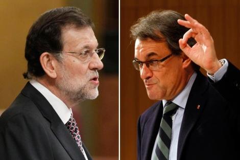 El presidente del Gobierno, Mariano Rajoy, y de la Generalitat, Artur Mas. | Efe | D. Umbert