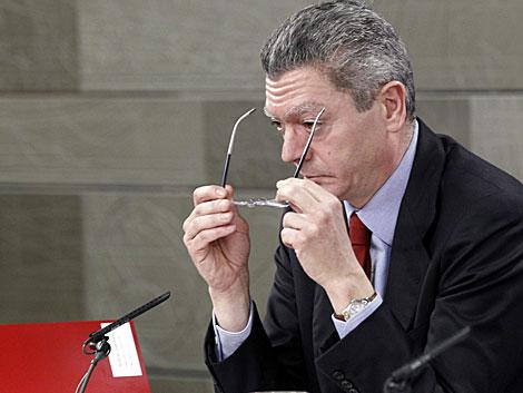 El ministro de Justicia, durante la rueda de prensa posterior a la reunión del Gobierno. | Zipi / Efe