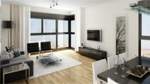 Salón de los pisos de Newarco en la calle Silvano de Madrid por 397.000 euros. | EM