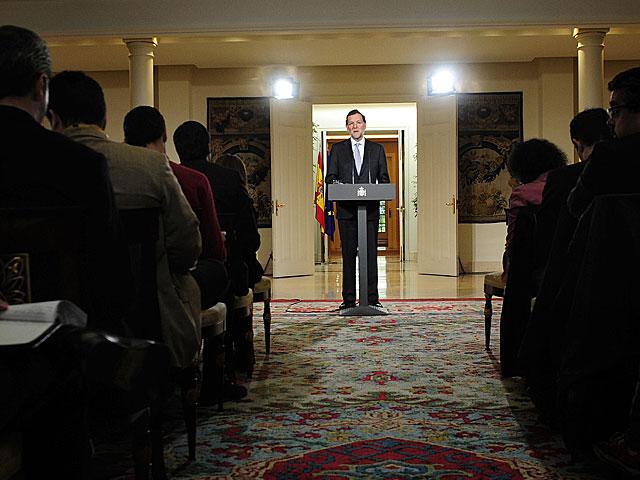 Mariano Rajoy, durante la rueda de prensa en el Palacio de La Moncloa.   Bernardo Díaz