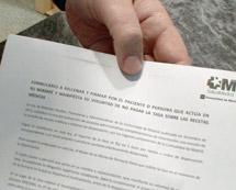 Formulario para negarse al pago del euro.