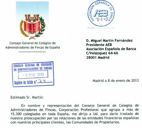 Encabezado de la carta enviada por los administradores de fincas a la AEB. | Elmundo.es