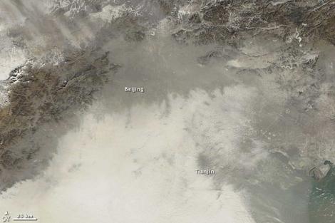 La nube de polución, captada desde el espacio. | NASA/Reuters
