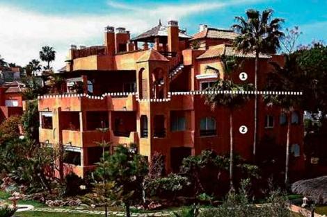El ático de González (1) y la vivienda de la hija de Franco (2), en Guadalmina. | EL MUNDO