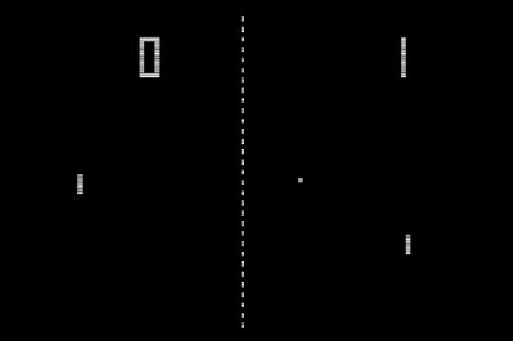 Imagen del popular videojuego Pong, comercializado por Atari en 1972.