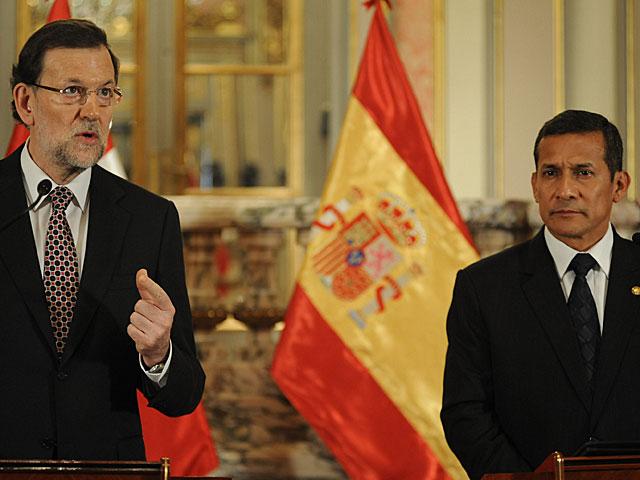 Mariano Rajoy, durante su intervención ante Ollanta Humala. | Raúl García / Efe