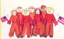 Dibujo de un niño en recuerdo de los astronautas.  NASA