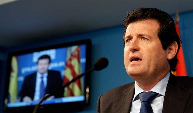 El vicepresidente del Consell, José Císcar, en su rueda de prensa. | Efe