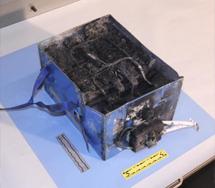 Batería quemada del B787. | Reuters