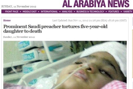 Imagen de la pequeña en el hospital.   'Foto: Al Arabiya'